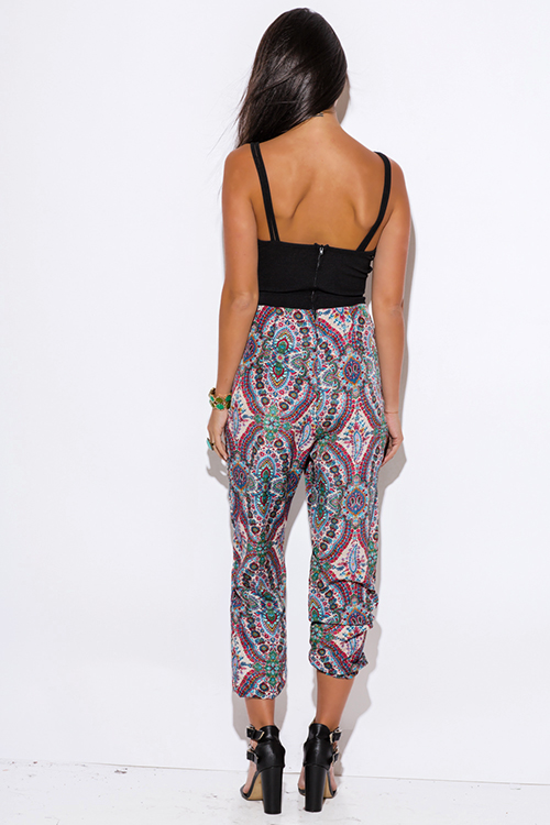 Cute cheap damask paisley print criss cross cut out 2fer harem summer party jumpsuit