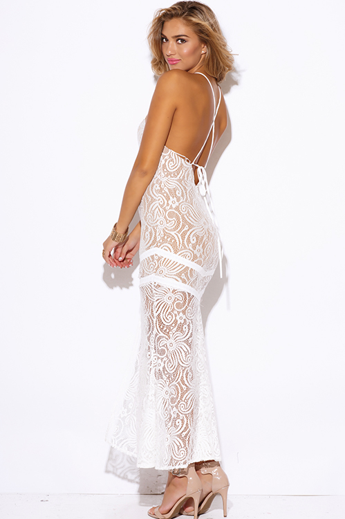 Cute cheap white baroque lace high slit backless fitted formal evening cocktail party maxi dress