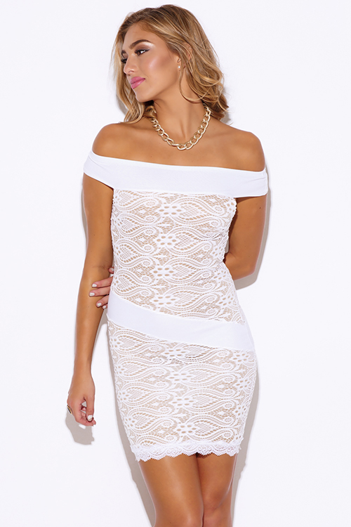 Cute cheap white baroque lace off shoulder fitted cocktail party club mini dress