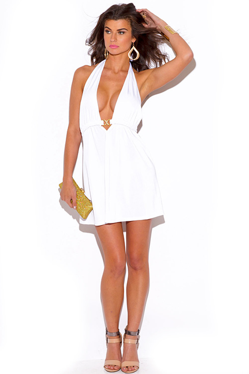 Cute cheap white bejeweled draped backless babydoll halter party mini dress