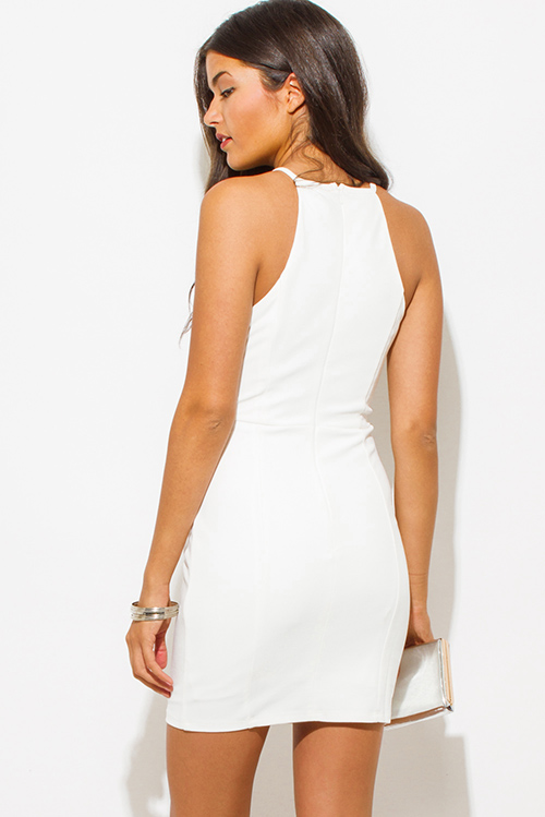 Cute cheap white bejeweled halter racer back bodycon fitted shift pencil party mini dress