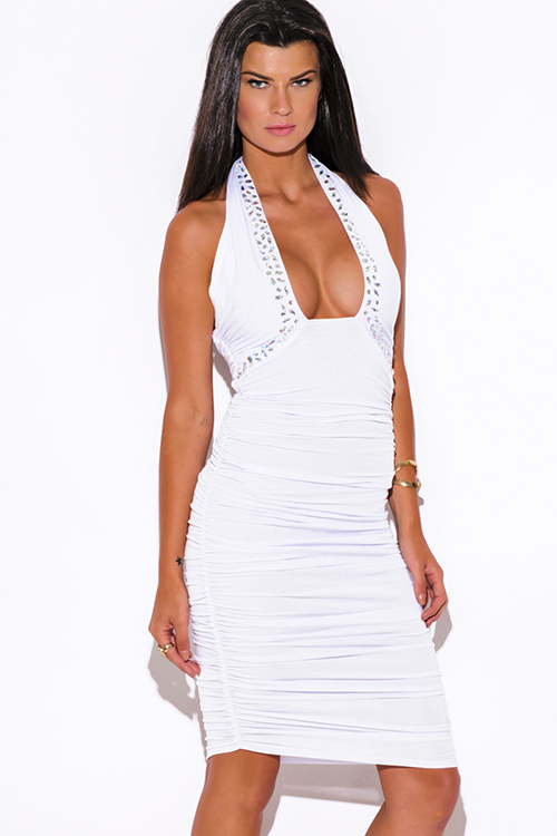 Cute cheap white bejeweled ruched fitted wrapped neck halter formal cocktail party club midi dress