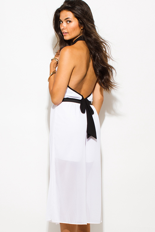Cute cheap white chiffon color block cut out high neck backless cropped clubbing midi jumpsuit