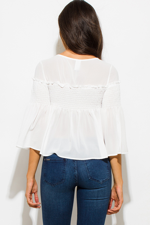 Cute cheap white chiffon shirred smocked flutter bell sleeve boho crop blouse top