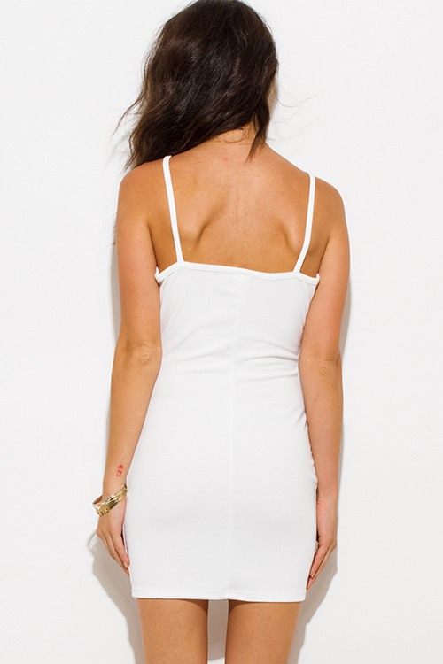Cute cheap white color block deep v neck spaghetti strap crochet lace trim open back bodycon fitted club mini dress