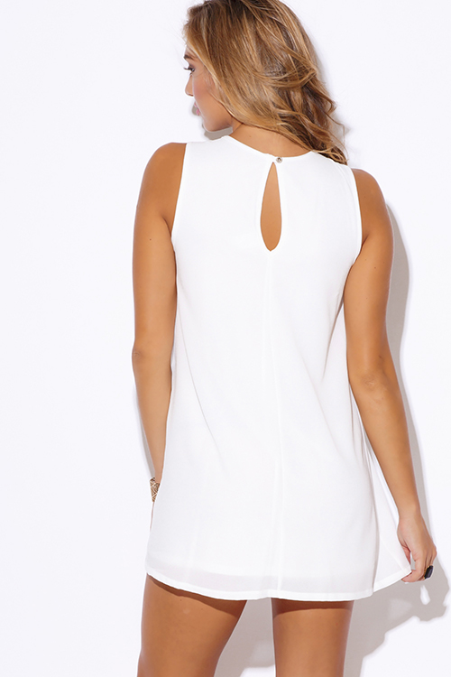 Cute cheap white crepe bejeweled cut out v neck pleated cocktail party shift mini dress