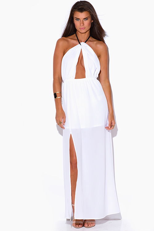 Cute cheap white crepe cut out high slit rope halter wrap neck backless evening party maxi sun dress
