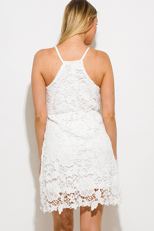 Cute cheap white crochet lace scallop hem pencil fitted boho mini sun dress