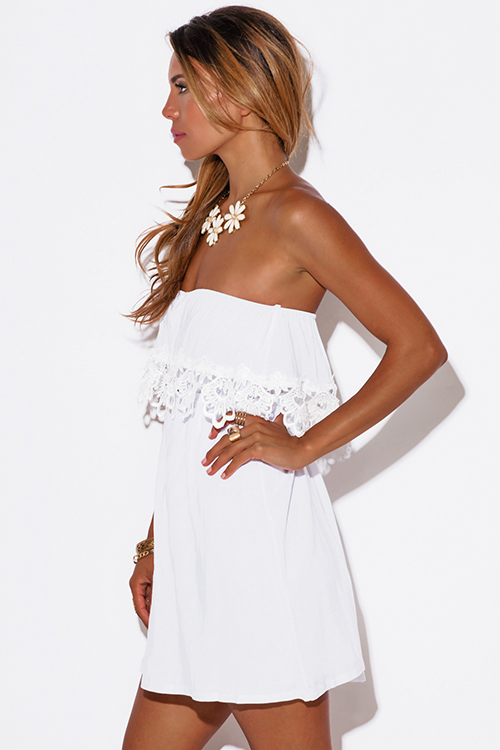 Cute cheap white crochet lace trim ruffle strapless mini sun dress
