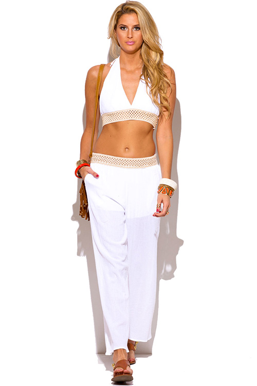 Cute cheap white crochet trim cotton gauze boho resort wide leg pants