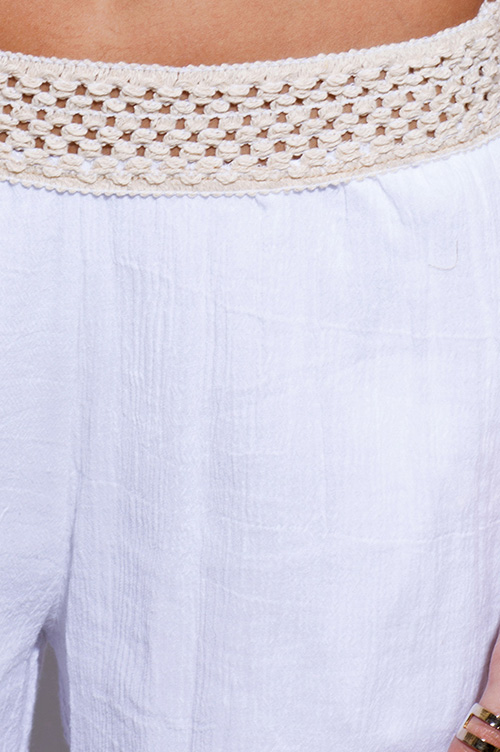 Shop white crochet trim cotton gauze boho resort wide leg pants