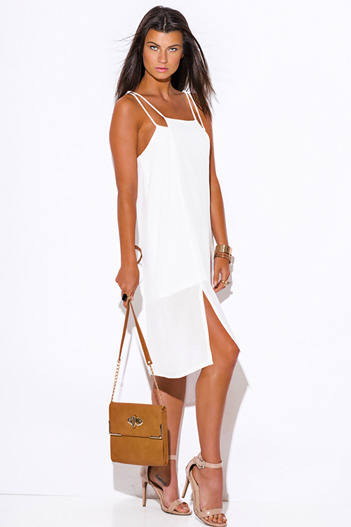 Cute cheap white cut out side slit crepe party midi sun dress
