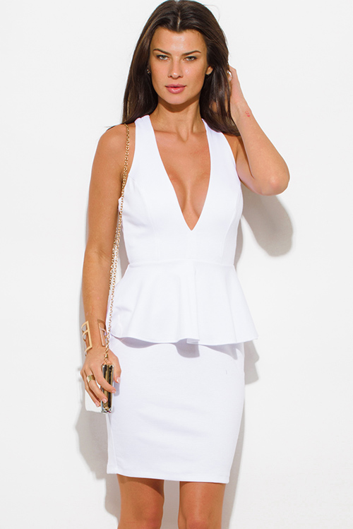 Cute cheap white deep v neck cross back fitted bodycon cocktail party peplum mini dress