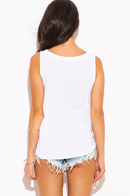 Cute cheap white embroidered boho peasant tank top