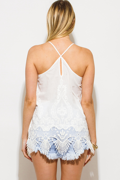 Cute cheap white embroidered scallop crochet lace hem criss cross back boho tank top