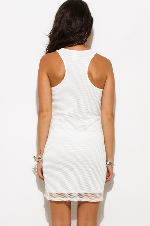 Cute cheap White fishnet racerback bodycon club mini dress