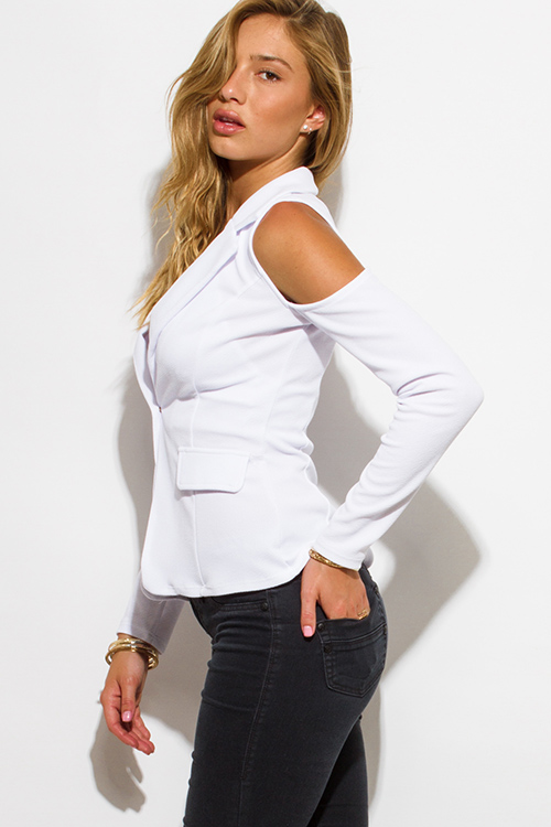 Cute cheap white golden button long sleeve cold shoulder cut out blazer jacket