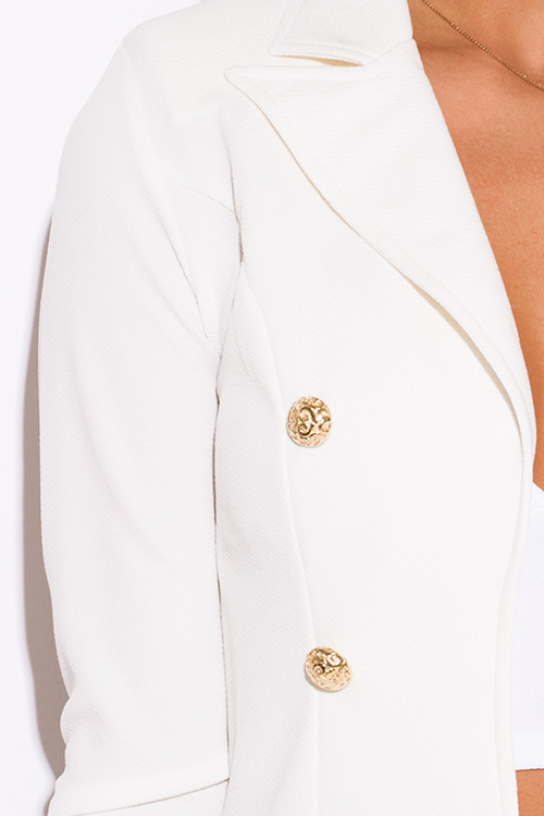 Cute cheap white golden button military style open blazer jacket