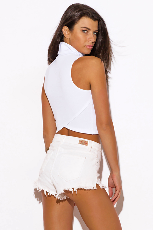Cute cheap white high neck fitted party crop top