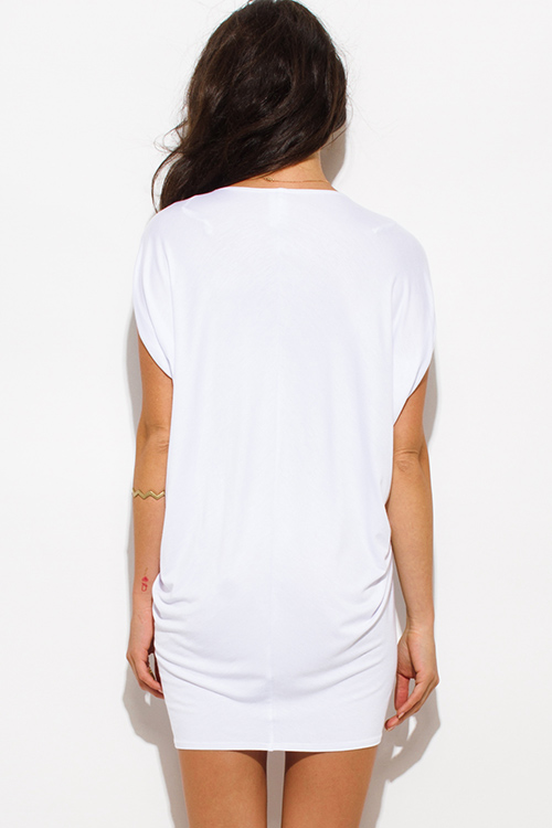 Cute cheap white jersey dolman sleeve low v neck tunic top mini dress