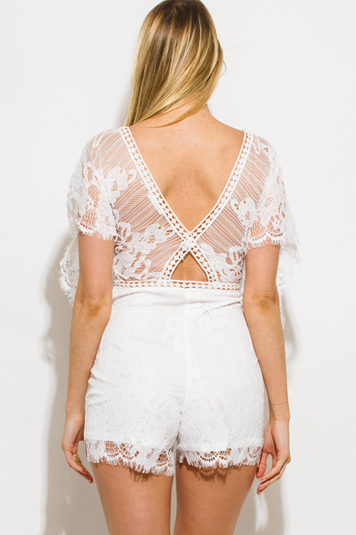 Cute cheap white lace butterfly sleeve scallop hem cut out back resort boho romper playsuit jumpsuit
