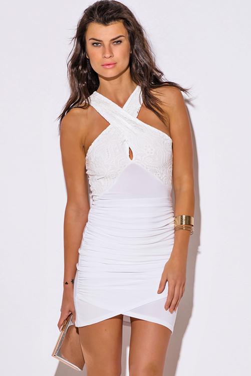 Cute cheap white lace criss cross ruched bodycon fitted club mini dress