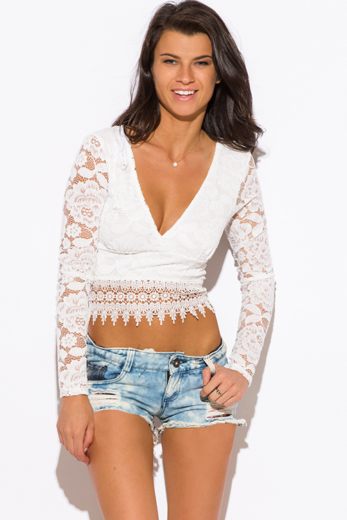 Cute cheap white lace deep v neck crochet lace trim backless boho party crop top