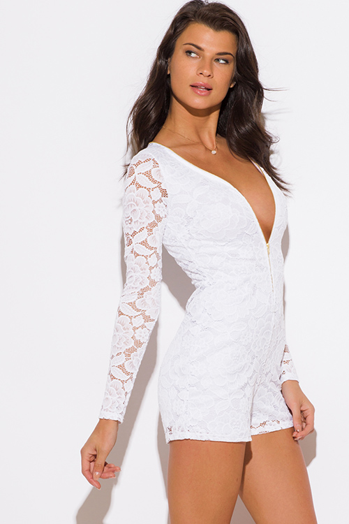 Cute cheap white lace long sleeve zip up deep v neck bodycon club romper jumpsuit