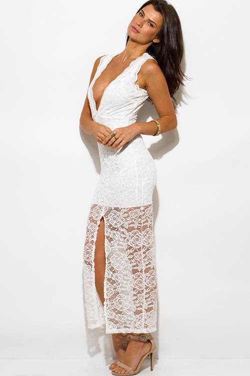 Cute cheap white lace overlay sleeveless deep v neck high slit bodycon evening party maxi dress