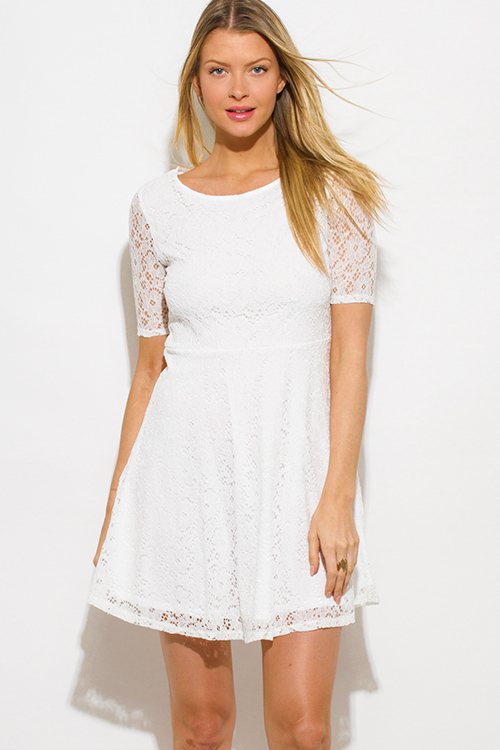 Shop white lace short sleeve boho a line skater mini sun dress