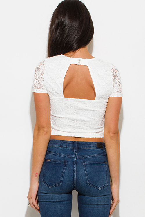 Cute cheap white lace v neck laceup cut out open back fitted party crop top