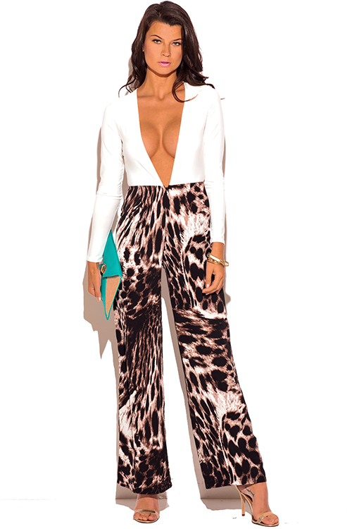 Cute cheap white low v neck animal print wide leg 2fer evening party jumpsuit