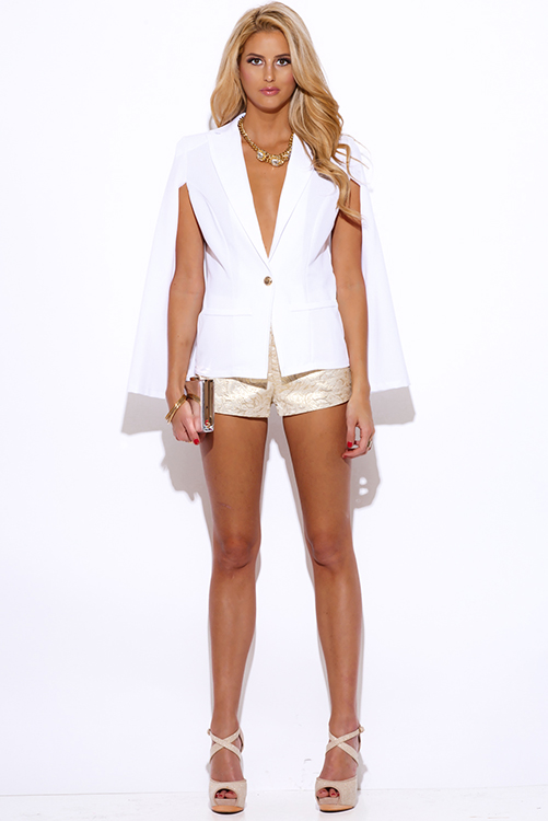 Cute cheap white military button cape jacket suiting blazer top