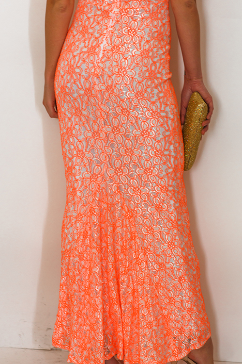 Cute cheap white neon orange lace sweetheart v neck off shoulder formal evening party maxi dress