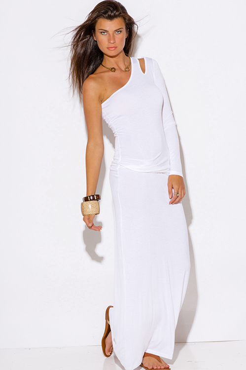 Cute cheap white one shoulder cut out sleeve ruched fitted summer maxi dress