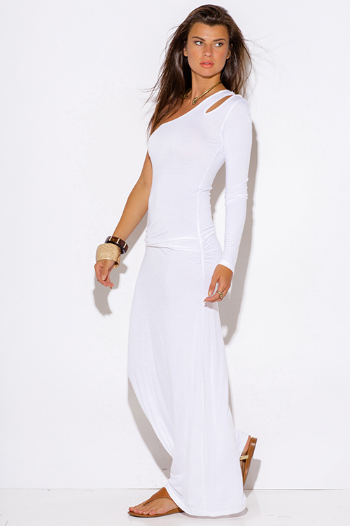 Shop white one shoulder cut out sleeve ruched fitted summer maxi dress