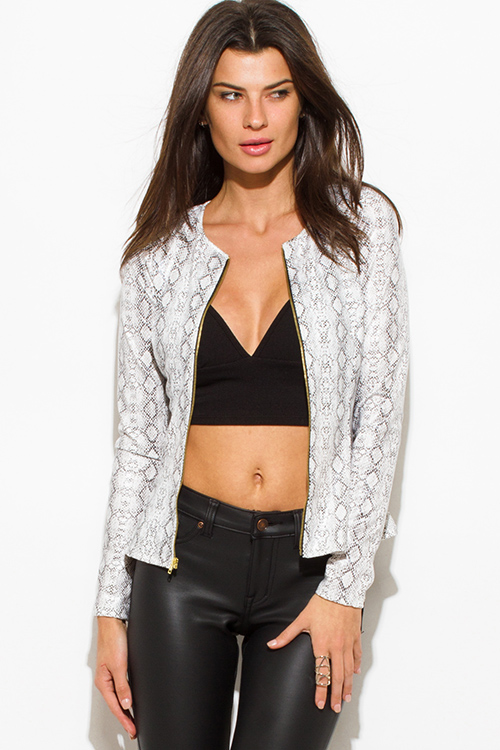 Cute cheap white python snake animal print faux leather long sleeve zip up peplum jacket top