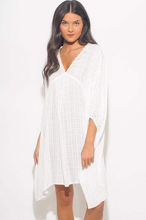 Cute cheap white rayon gauze butterfly sleeve boho beach cover up tunic mini dress kaftan