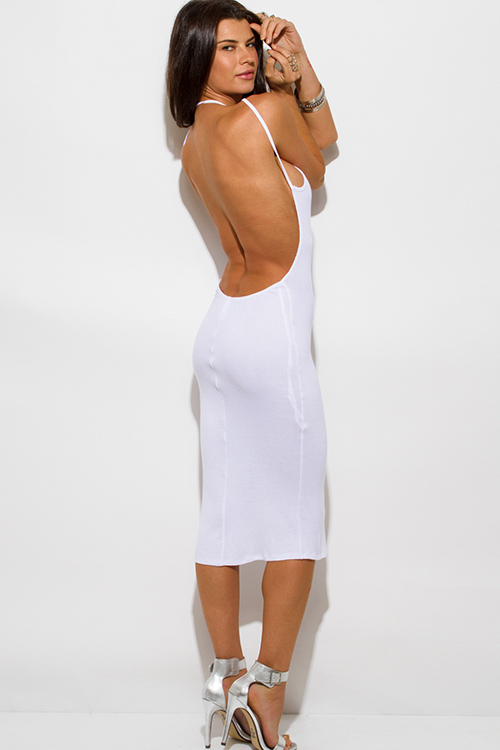Cute cheap white ribbed knit jersey strappy halter backless party midi dress