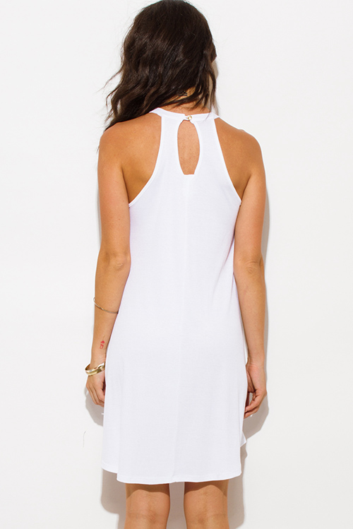 Cute cheap white ribbed knit sleeveless halter keyhole racer back tunic top mini dress