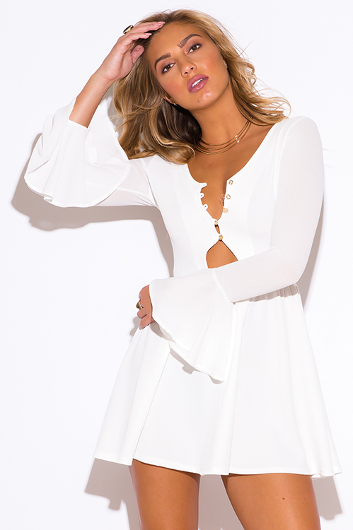 Cute cheap white ruffle long bell sleeve v neck a line cocktail party club mini dress