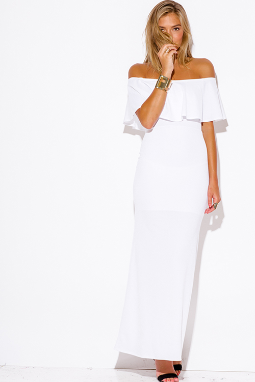 Trendy White Sexy Off Shoulder High