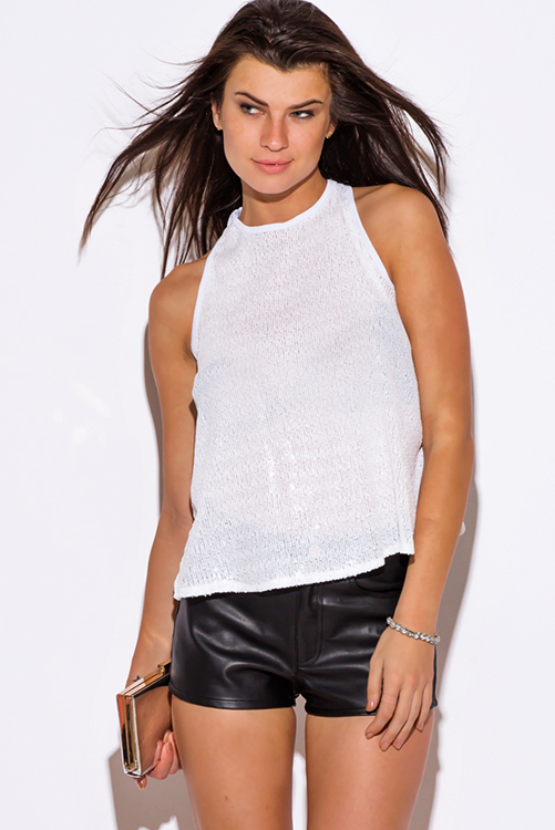 Cute cheap white sequined cut out racer back swing tank party top