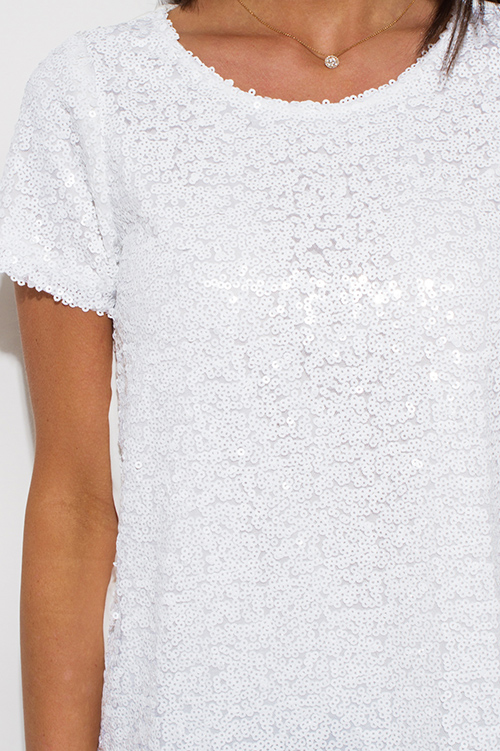 Cute cheap white sequined short sleeve clubbing top