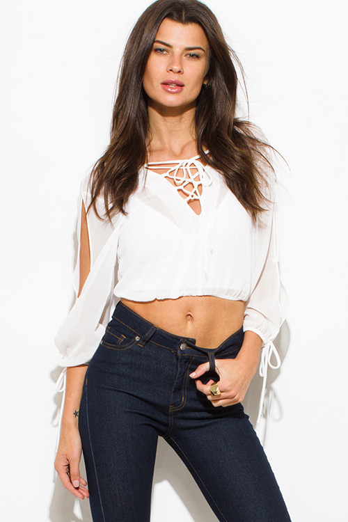 Cute cheap white sheer chiffon laceup cut out slit blouson laceup long sleeve boho crop blouse top