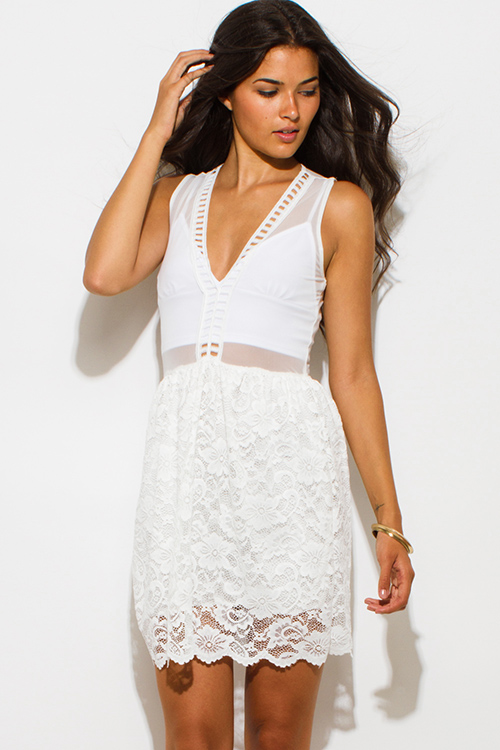 Cute cheap white sheer mesh contrast sheer lace overlay scallop trim a line skater cocktail party club mini dress