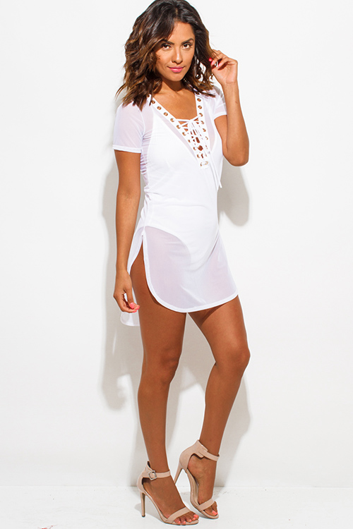 Cute cheap white sheer mesh short sleeve deep v neck laceup beach cover up tunic top