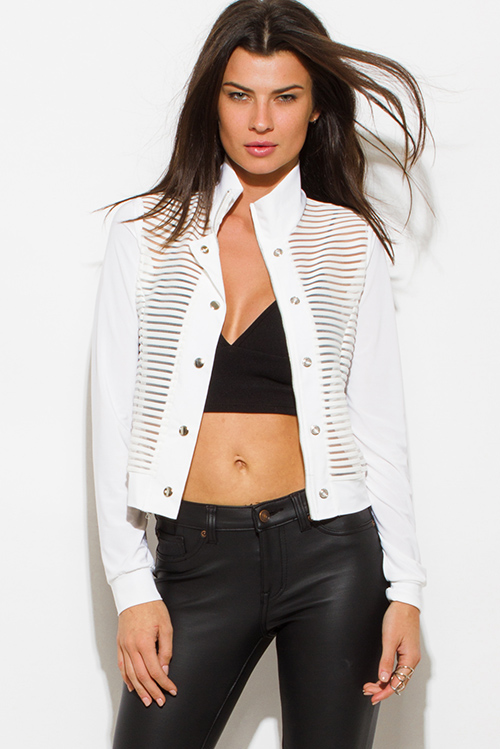 Cute cheap white sheer stripe mesh contrast long sleeve high neck snap button up moto jacket