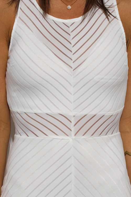 Cute cheap white sheer stripe mesh sleeveless bodycon fitted pencil club mini dress