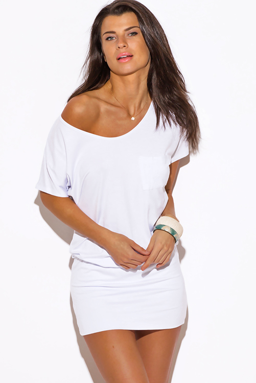 Cute cheap white short sleeve banded tunic mini dress